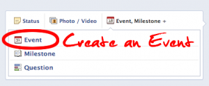 create a fan page party event on facebook, get your network in the know!