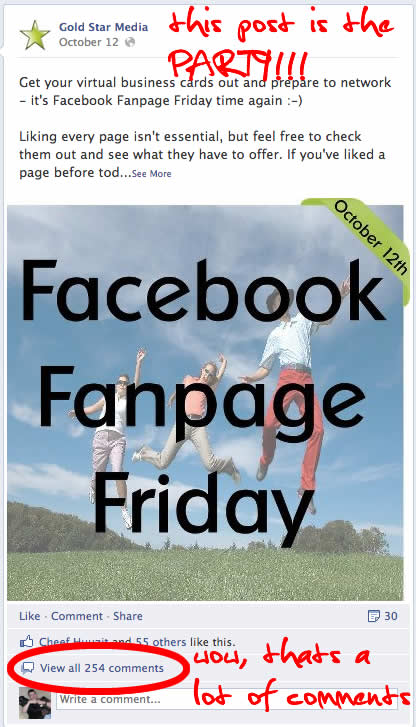 Fan Page Party Post Example: Comment and Leave your fan page info here.