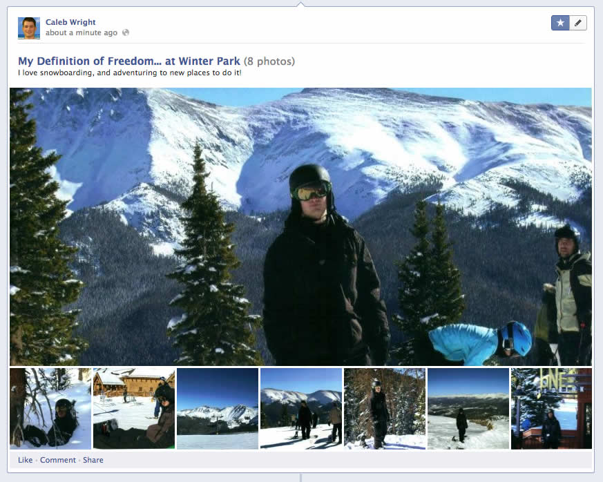 Improve your Facebook fan page EdgeRank by posting photo galleries